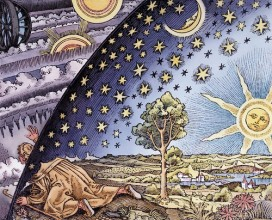 Woodcut of man looking through universe by PipWilson on Flickr