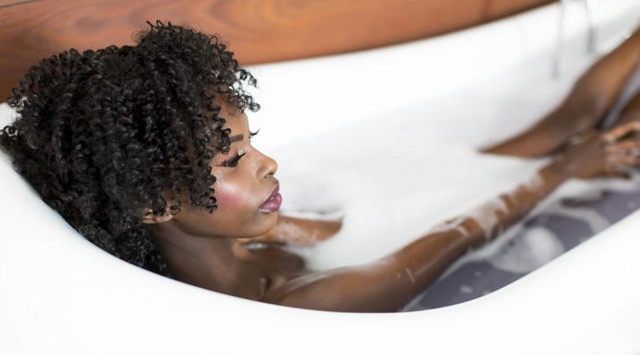 Self-care - woman in bath tub