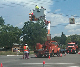 Overhead Signal Light Work Commerce Twp