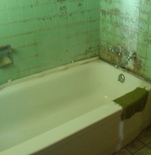 1950's bathroom on a lakefront property for sale