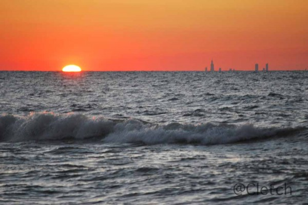 View of Chicago Skyline at sunset from Indiana Dunes National Park