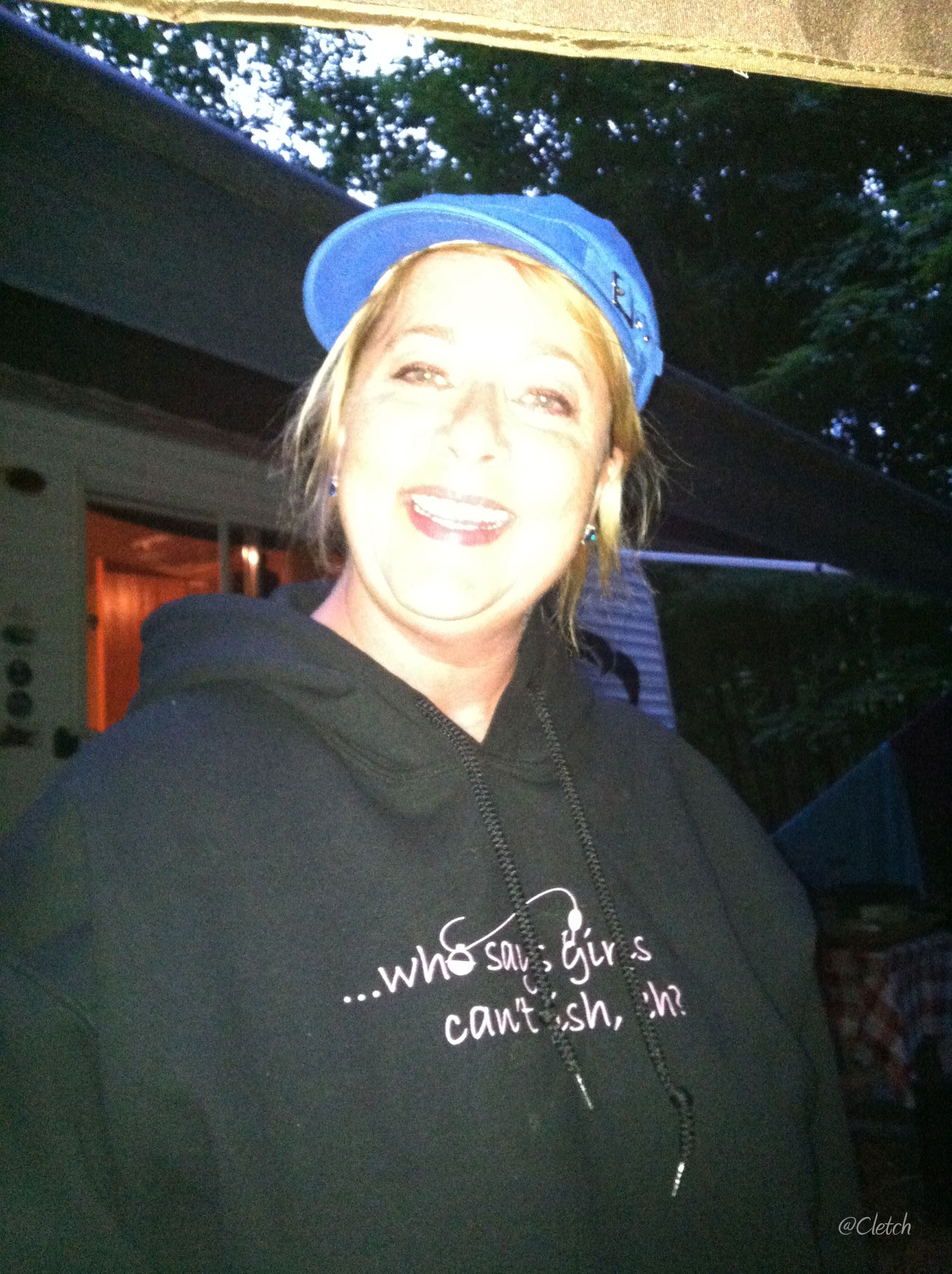 Judi camping it up!