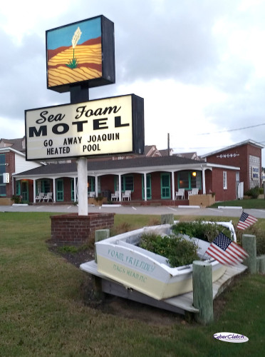 Sea Foam Motel sign Go Away Hurricane Joaquin!