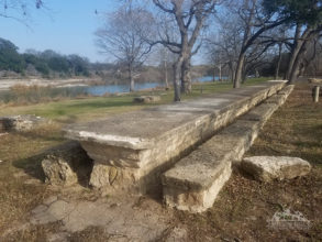 Giant stone picnic table