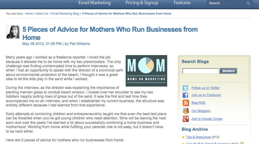 Benchmark Email Moms on Marketing