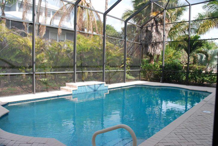 Screened in swimming pool on Sanibel Island