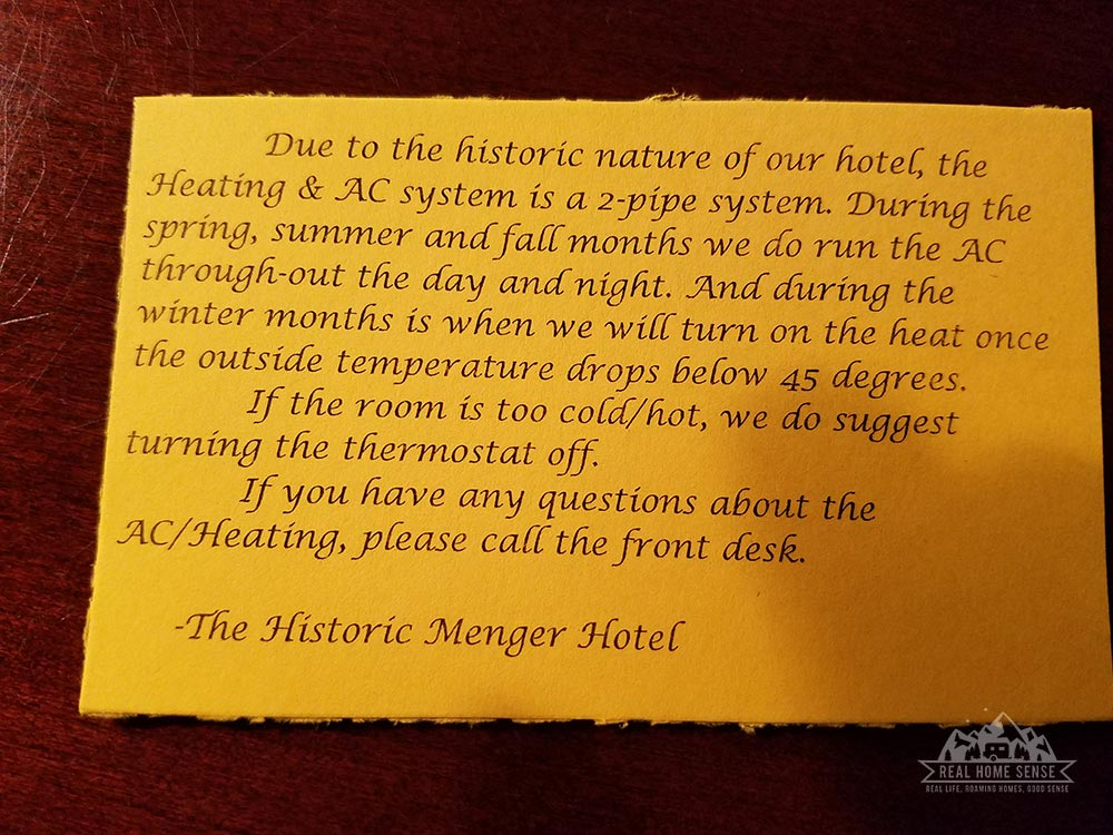 Menger Hotel Notice about heating and AC in the room