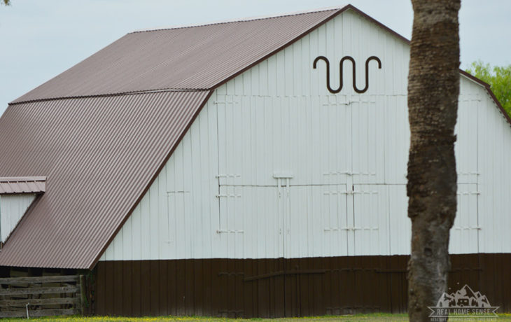 King Ranch's famous brand on one of their barns.